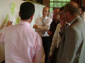 Deelnemers ordenen en bespreken ideeën